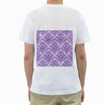DAMASK1 WHITE MARBLE & PURPLE DENIM (R) Men s T-Shirt (White) (Two Sided) Back