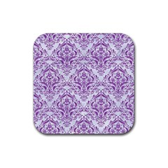 Damask1 White Marble & Purple Denim (r) Rubber Coaster (square)