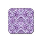 DAMASK1 WHITE MARBLE & PURPLE DENIM (R) Rubber Coaster (Square)  Front