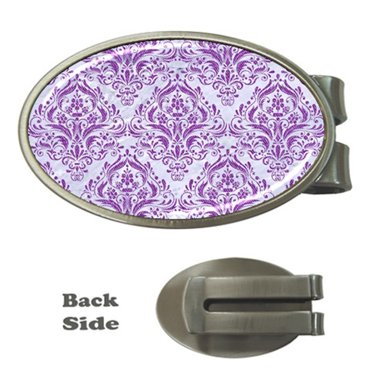 DAMASK1 WHITE MARBLE & PURPLE DENIM (R) Money Clips (Oval)