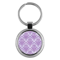 Damask1 White Marble & Purple Denim (r) Key Chains (round)