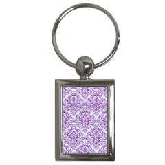 Damask1 White Marble & Purple Denim (r) Key Chains (rectangle)