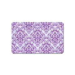 Damask1 White Marble & Purple Denim (r) Magnet (name Card)