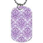DAMASK1 WHITE MARBLE & PURPLE DENIM (R) Dog Tag (One Side) Front