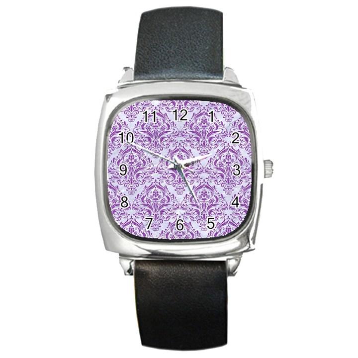 DAMASK1 WHITE MARBLE & PURPLE DENIM (R) Square Metal Watch