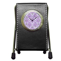 Damask1 White Marble & Purple Denim (r) Pen Holder Desk Clocks