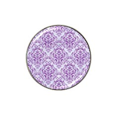 Damask1 White Marble & Purple Denim (r) Hat Clip Ball Marker