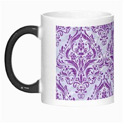 Damask1 White Marble & Purple Denim (r) Morph Mugs