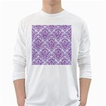 DAMASK1 WHITE MARBLE & PURPLE DENIM (R) White Long Sleeve T-Shirts Front