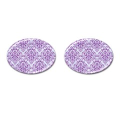 Damask1 White Marble & Purple Denim (r) Cufflinks (oval) by trendistuff