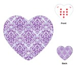 DAMASK1 WHITE MARBLE & PURPLE DENIM (R) Playing Cards (Heart)  Front