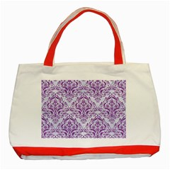 Damask1 White Marble & Purple Denim (r) Classic Tote Bag (red) by trendistuff