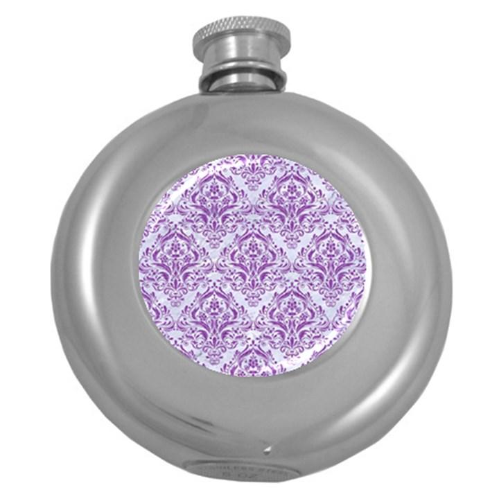 DAMASK1 WHITE MARBLE & PURPLE DENIM (R) Round Hip Flask (5 oz)