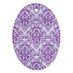 DAMASK1 WHITE MARBLE & PURPLE DENIM (R) Oval Ornament (Two Sides) Front
