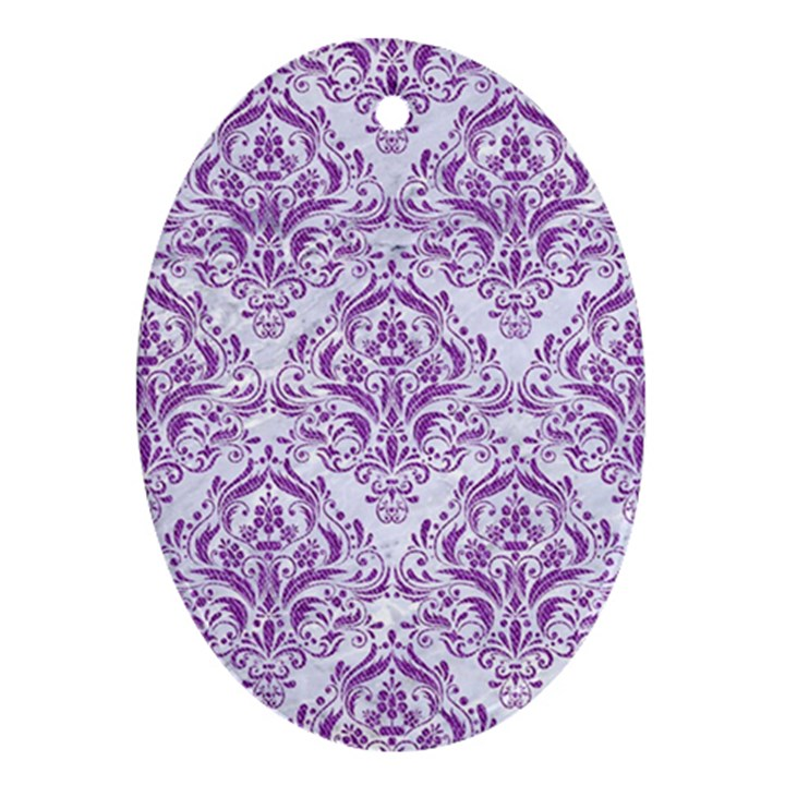 DAMASK1 WHITE MARBLE & PURPLE DENIM (R) Oval Ornament (Two Sides)