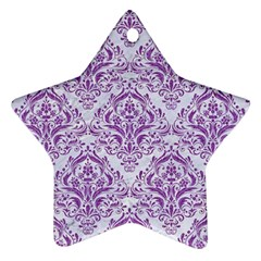 Damask1 White Marble & Purple Denim (r) Star Ornament (two Sides)
