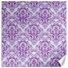 Damask1 White Marble & Purple Denim (r) Canvas 12  X 12   by trendistuff
