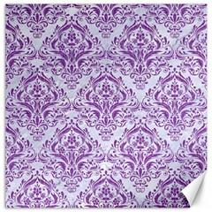 Damask1 White Marble & Purple Denim (r) Canvas 16  X 16