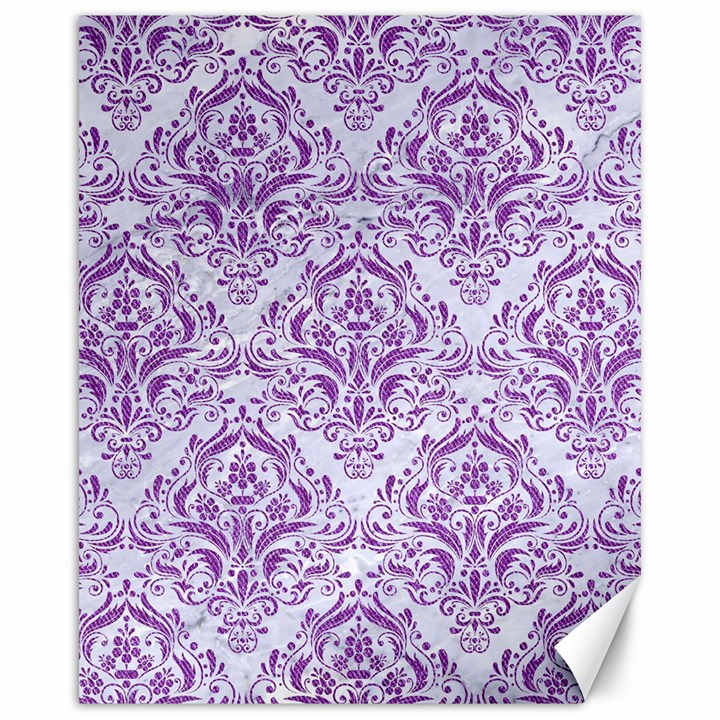 DAMASK1 WHITE MARBLE & PURPLE DENIM (R) Canvas 16  x 20
