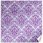 DAMASK1 WHITE MARBLE & PURPLE DENIM (R) Canvas 20  x 20   20 x20 Canvas - 1