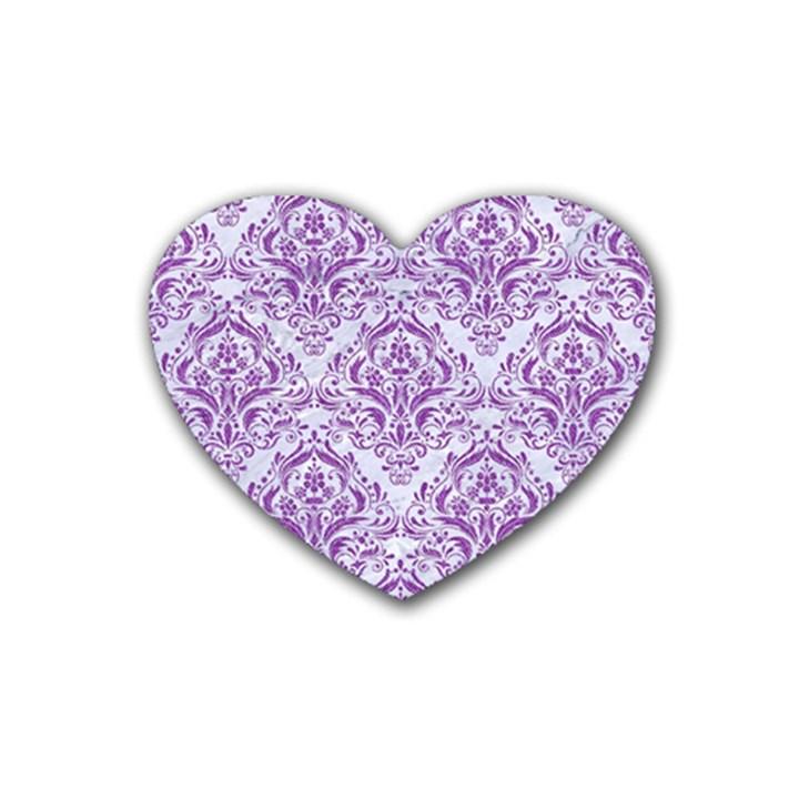 DAMASK1 WHITE MARBLE & PURPLE DENIM (R) Rubber Coaster (Heart)