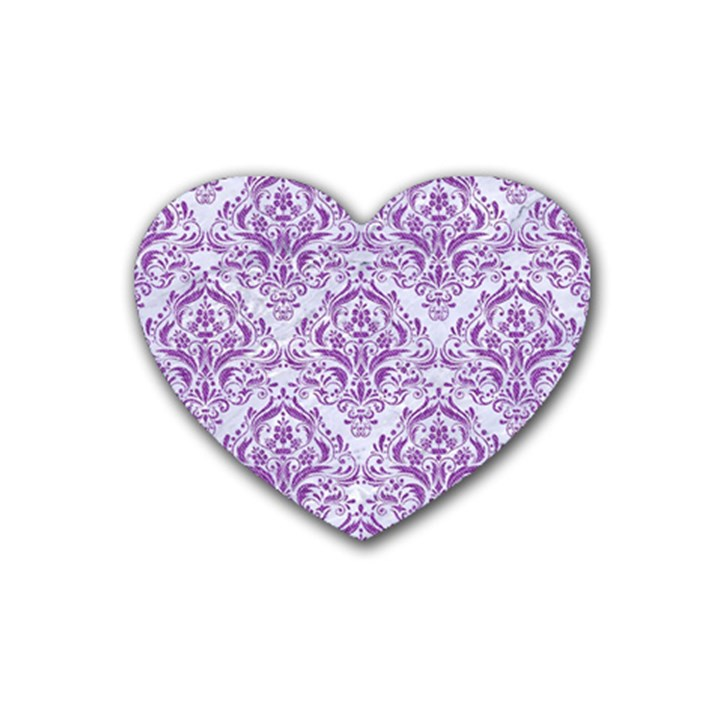 DAMASK1 WHITE MARBLE & PURPLE DENIM (R) Heart Coaster (4 pack)