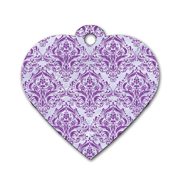 DAMASK1 WHITE MARBLE & PURPLE DENIM (R) Dog Tag Heart (One Side)