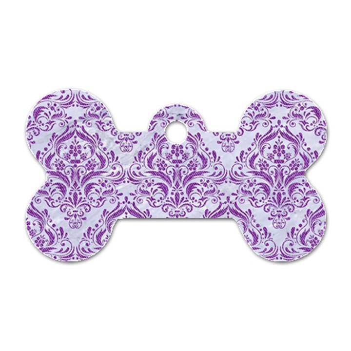 DAMASK1 WHITE MARBLE & PURPLE DENIM (R) Dog Tag Bone (Two Sides)