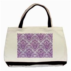 Damask1 White Marble & Purple Denim (r) Basic Tote Bag (two Sides)