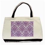 DAMASK1 WHITE MARBLE & PURPLE DENIM (R) Basic Tote Bag (Two Sides) Back