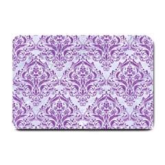 Damask1 White Marble & Purple Denim (r) Small Doormat