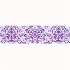 Damask1 White Marble & Purple Denim (r) Large Bar Mats