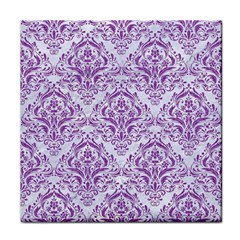 Damask1 White Marble & Purple Denim (r) Face Towel