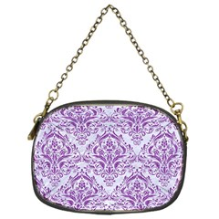 Damask1 White Marble & Purple Denim (r) Chain Purses (one Side)  by trendistuff