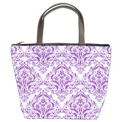 Damask1 White Marble & Purple Denim (r) Bucket Bags