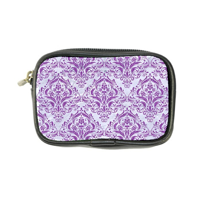 DAMASK1 WHITE MARBLE & PURPLE DENIM (R) Coin Purse