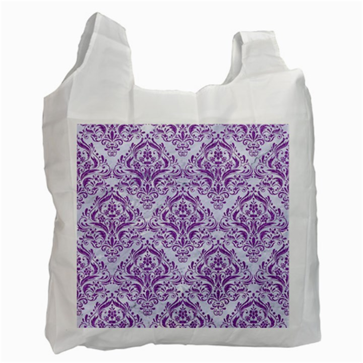 DAMASK1 WHITE MARBLE & PURPLE DENIM (R) Recycle Bag (Two Side)