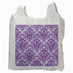 DAMASK1 WHITE MARBLE & PURPLE DENIM (R) Recycle Bag (Two Side)  Back
