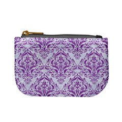Damask1 White Marble & Purple Denim (r) Mini Coin Purses