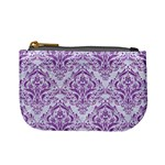 DAMASK1 WHITE MARBLE & PURPLE DENIM (R) Mini Coin Purses Front