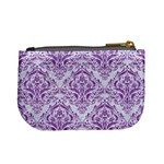 DAMASK1 WHITE MARBLE & PURPLE DENIM (R) Mini Coin Purses Back