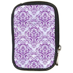 Damask1 White Marble & Purple Denim (r) Compact Camera Cases