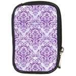 DAMASK1 WHITE MARBLE & PURPLE DENIM (R) Compact Camera Cases Front