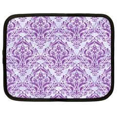 Damask1 White Marble & Purple Denim (r) Netbook Case (xl)