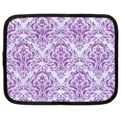 Damask1 White Marble & Purple Denim (r) Netbook Case (xxl)