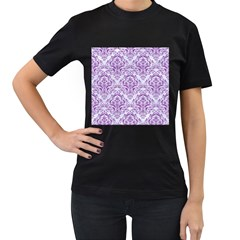 Damask1 White Marble & Purple Denim (r) Women s T Shirt (black)