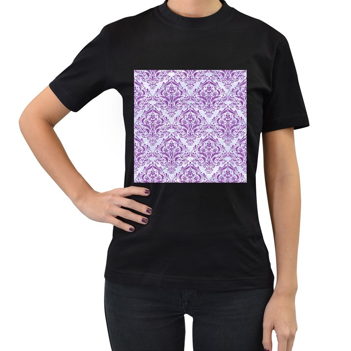 DAMASK1 WHITE MARBLE & PURPLE DENIM (R) Women s T-Shirt (Black)