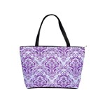 DAMASK1 WHITE MARBLE & PURPLE DENIM (R) Shoulder Handbags Front