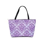 DAMASK1 WHITE MARBLE & PURPLE DENIM (R) Shoulder Handbags Back