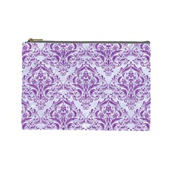 Damask1 White Marble & Purple Denim (r) Cosmetic Bag (large)